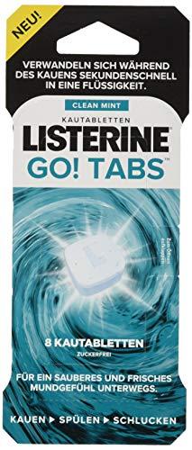 Listerine Go! Tabs Kautabletten, zuckerfreie Tabletten mit angenehmen Minzgeschmack für frischen Atem unterwegs (1 x 48 Stück)