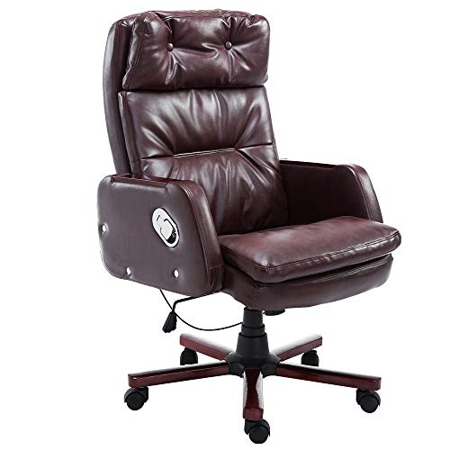 HOMCOM Executive PU Leather Office Chair Swivel Computer Padded Desk Chair for Home with Arm, Adjustable Reclining Back, Brown