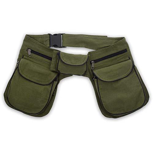 KUNST UND MAGIE Doppel Bauchtasche Sidebag Gürteltasche Festivaltasche Hippie Goa, Farbe:Army Green/Schwarz