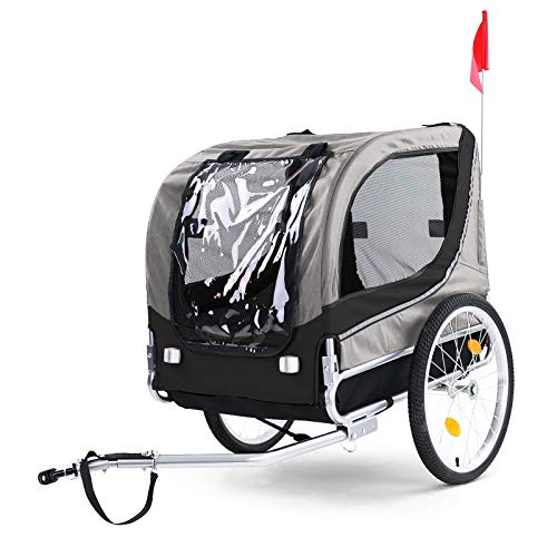 RAMROXX 39578 Fahrradanhänger Hundeanhänger klappbar für Haustiere Grau Schwarz bis 40Kg