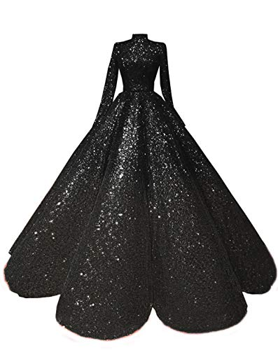 Meijia Women's One Shoulder Long Sleeve Sequined Quinceanera Sparkly Evening Ball Gowns Sweet 16 Formal Prom Dress ME120
