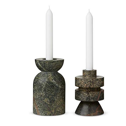 Tom Dixon - Rock Candle Holder - Kerzenhalter/Kerzenständer/Kerzenleuchter - Marmor - Grau/Grün - B: 13cm x H: 36cm / Medium - 2er Set