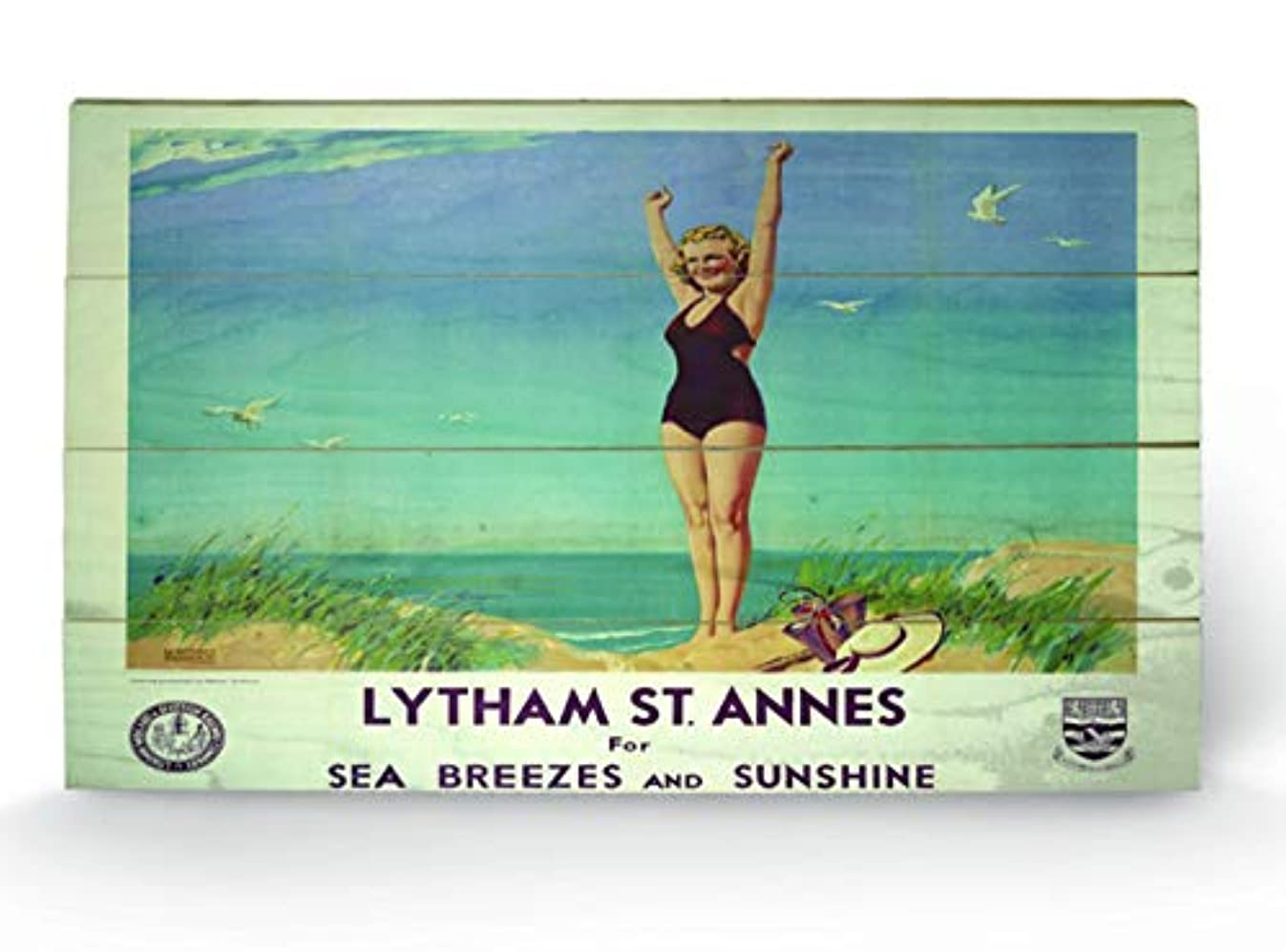 Pyramid International Lytham St Annes 2 Wood Print, Multi-Colour, 45 x 76 x 1.3 cm