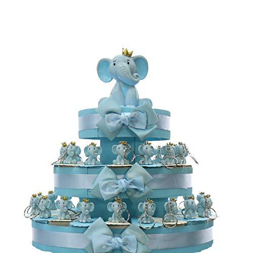 Viale Magico Elefantino Bimbo Portachiavi con Corona Torta Bomboniere Nascita Pensierini Primo Compleanno Originali Bimbo (Torta da 35 Pezzi)