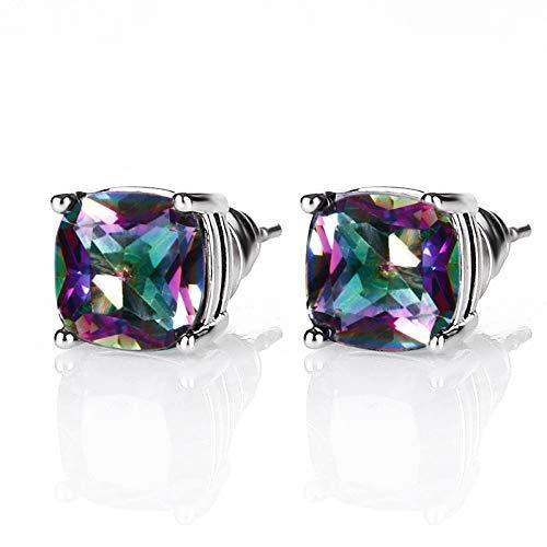 NA Pendientes para mujer, 7 mm, arcoíris, topacio misterioso, plata 925, joyas, pendientes, gran comercio, fiesta, regalo de boda, multicolor
