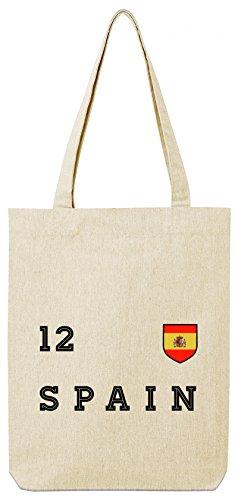 ShirtStreet Espana Spain Fußball WM Fanfest Gruppen Premium Bio Baumwoll Tote Bag Jutebeutel Stanley Stella Trikot Spanien, Größe: onesize,Natural