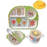 Shopwithgreen Kindergeschirr 5-Teiliges Sets mit Schönes Muster aus Gesunde Materialien /Schüssel,Löffel, Gabel, Tasse ,Menüteller für Kleine Kinder, Spülmaschinengeeignet ,inkl Saugnapf