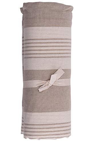 HomeLife – Foulard Multiusos – Tela Decorativa Cubre sofá con diseño de Rayas, 160x280, fabricación Italiana – Granfoulard de algodón – Cubrecama Individual (Cama 1 Plaza) – Beige