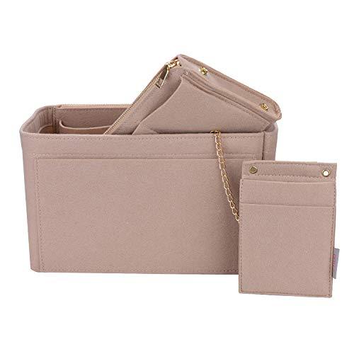 Purse Organizer, bag organizer With 2 Metal Zippers, RFID Blocking Pocket Purse Organizer Insert,5 Sizes, 6 Color (Medium, Beige)
