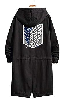 Gumstyle Anime Attack on Titan Shingeki No Kyojin Strench Coat with Hood Adult Cosplay Long Windbreaker Jacket Black 1 XXL