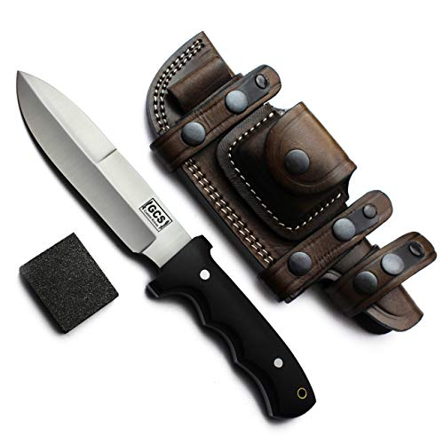 GCS Handmade Bushcraft, Survival, Tactical, Hunting, Camping Knife with Grippy Black Micarta Handle D2 Tool Steel Brown Leather Right or Left Hand Horizontal Sheath & Sharpening Stone GCS 115