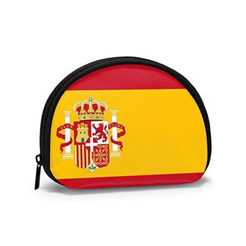 Bandera de España España Monedero pequeño para Mujer Bonita Bolsa de Monedas para niña Mini Bolsa de Monedas Bolsa de Almacenamiento Cartera de Concha