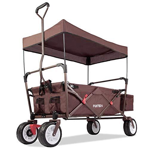 FUXTEC faltbarer Bollerwagen FX-CT350 Braun - in weiteren 4 Farben erhältlich, klappbar mit Dach, Vorderrad-Bremse, Strand-Reifen, Hecktasche, für Kinder geeignet - Das Original mit Qualität!