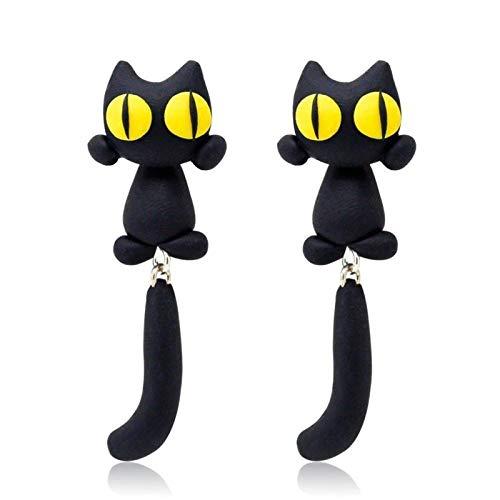 Scucs Pendientes de gato de ojo amarillo únicos con diseño de gato de dibujos animados de cola larga para mujer