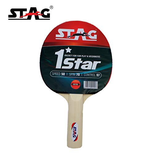 Stag 1 Star Table Tennis Racquet( Multi- Color, 148 grams, Beginner )