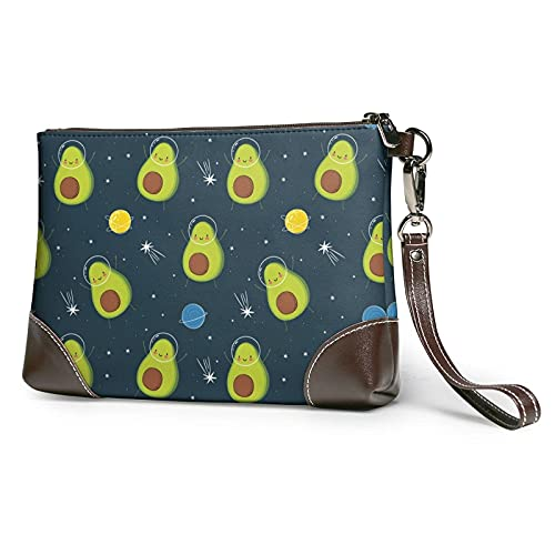 XCNGG Bonito bolso de mano con estampado de espacio de dibujos animados de aguacate, monedero de cuero desmontable, bolso de mano para mujer
