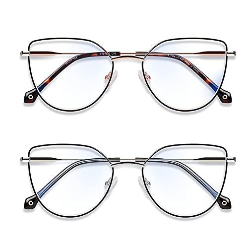 Baytion 2 Blaulichtfilter Brille Damen Herren Retro Runde Katzenauge Computerbrille Blaulichtfilter Digitalgeräte mit Edelstahlrahmen 100% UV-Schutz, ohne Rezept