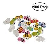 SUPVOX Botones de madera encantadores botones de abeja de dibujos animados mixtos para coser Scrapbooking infantil artesanía de bricolaje decoración de la boda 100 unids