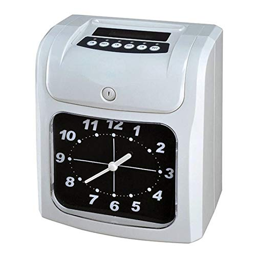 School Office Supplies Clock Face Attendance Machine Employees Check in at Work Electronic Time Clock Paper Card English Attendance Machine Punch Machine, Support Music Bell
