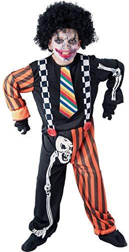 U LOOK UGLY TODAY Kinder Kostüm Halloween Clown Creepy Skelett Jumpsuit Karneval Verkleidungsparty Cosplay für Jungen - S