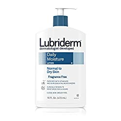 Lubriderm Daily Moisture Hydrating Unscented Body Lotion with Vitamin B5 for Normal to Dry Skin, Non
