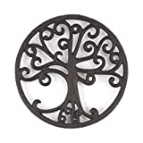 gasaré, Cast Iron Trivet, Metal Trivet, Decorative Tree of Life, for Hot Dishes, Pots, Kitchen, Countertop, Dining Table, with Rubber Feet Caps, Solid Cast Iron, 8 Inch Large, Rustic Brown Finish