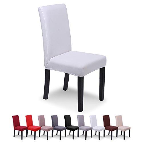 SaintderG® Fundas para sillas Pack de 6 Fundas sillas Comedor, Lavable Extraíble Funda, Muy fácil de Limpiar, Duradera Modern Bouquet de la Boda, Hotel, Decor Restaurante (Blanco, Pack de 6)