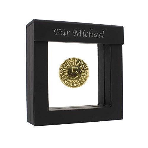 Historia 5 DM vergoldete Münze 1979 in Präsentations-Etui mit Ihrer individuellen Namens-Gravur