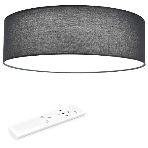 Navaris LED Deckenleuchte rund mit Fernbedienung - dimmbar - 22 Watt 970 Lumen - Stoff Deckenlampe Stoffbezug Dunkelgrau - verstellbare Farbtemperatur