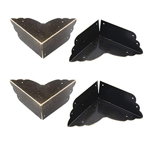 Antrader 4pcs Metal Box Corner Protector Edge Safety Bumpers Furniture Corner Guard Bronze Tone 2.8' x 2.8' x 1.2'