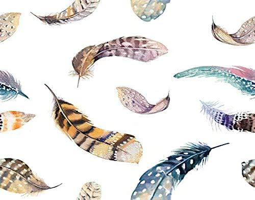 Y·JIANG Pintura de plumas por números, plumas, acuarela, orgánica, boho, colores brillantes, lienzo acrílico, pintura al óleo por números, para adultos y niños, decoración de pared, 50 x 50 cm