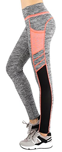 Sugar Pocket Women's Workout Leggings Running Tights Yoga Pants M(Grey/Orange)