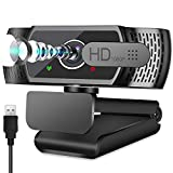 Neefeaer Webcam 1080P Full HD con Micrófono Estéreo para PC, 1080P USB Cámara Web con Cover para Windows, Mac y Android