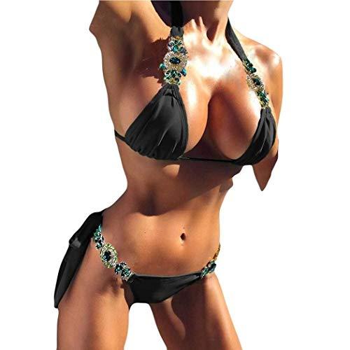 Ericcay Damen Bikini Niedrige Taille Tie Strass Bademode Stein Seite Stilvolle Unikat Tief V Ausschnitt Neckholder Badeanzug Triangel Gepolstert Push Up Tankini (Color : Schwarz, Einheitsgröße : M)