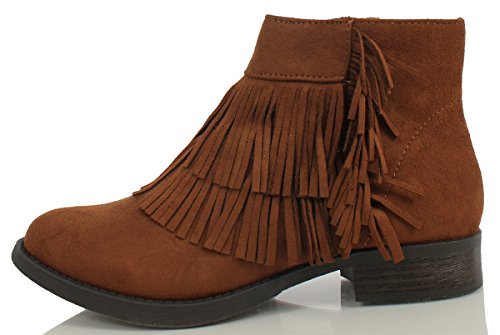 SODA Women's Flame Faux Suede Double Fringe Moccasin Ankle Boots,Cognac,8