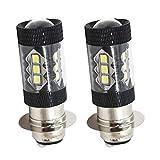 2 x 80W Xenon White 6000K H6M P15D ATV Motorcycle 2835 SMD LED Headlight Bulbs