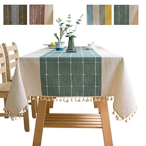COMVIP Mantel de Cocina de Lino y algodón con borlas, Tela, Verde, 110 x 110cm