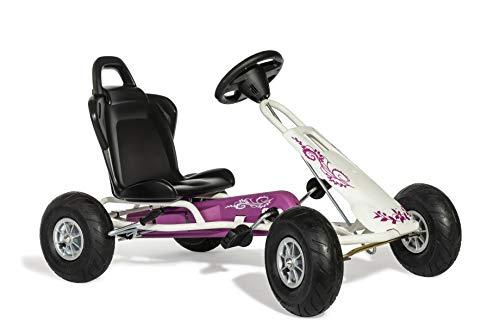 Ferbedo Go Air Runner (Gokart/Kart in weiß/pink mit Soundlenkrad und Luftbereifung, ab ca. 3-8 Jahre) 105014
