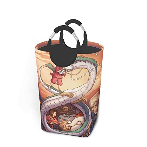 XCNGG Anime Spirited Away Ogino Chihiro Dragon Laundry Basket, Collapsible Fabric Laundry Hamper, Foldable Clothes Bag, Folding Washing Bin Waterproof Portable Sorter Dirty Clothes Organizer