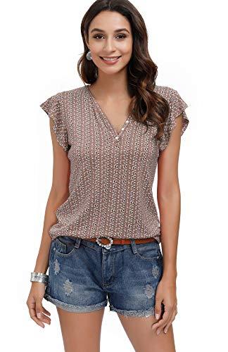 DOTIN Damen T-Shirt Kurzarm Sommer Shirt mit Allover Mininal Druck V-Ausschnitt Rüsche Ruffle Casual Oberteile Bluse Tops, Braun, S