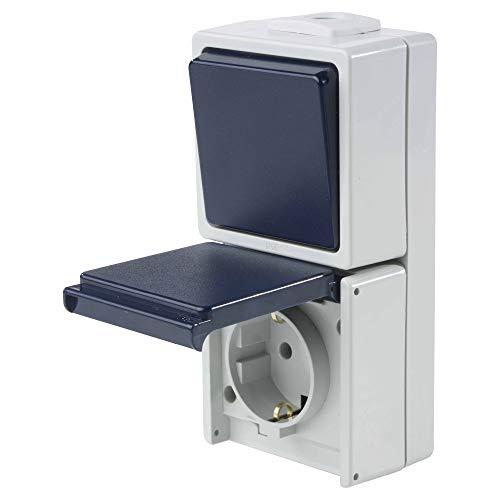 as - Schwabe Aufputz-Schalter – Wechselschaltung– Robuster Wippschalter (230 V / 10 A ) & Aufputz Steckdose für Feucht-Raum und Außen-Bereich – IP54 – hellgrau / blau – Made in Germany I 62455