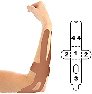 5 Pack - Kindmax Kinesiology Tape Elbow Support (Beige) - K Tape for Elbow Injuries
