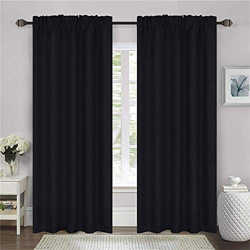 """Black Blackout Curtains for Bedroom, 100% Blackout Curtains 63 Length, Insulated Curtains 2 Panel Set 52"""" W x 63"""" L (Rod Pocket)"""