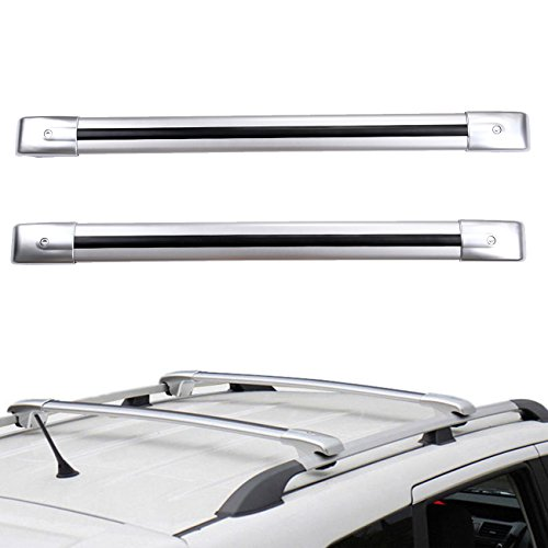 Ambienceo 2 Pcs Cross Bar Top Roof Rack Car Luggage Carrier Vehicle Roof Cargo Rack Silver...