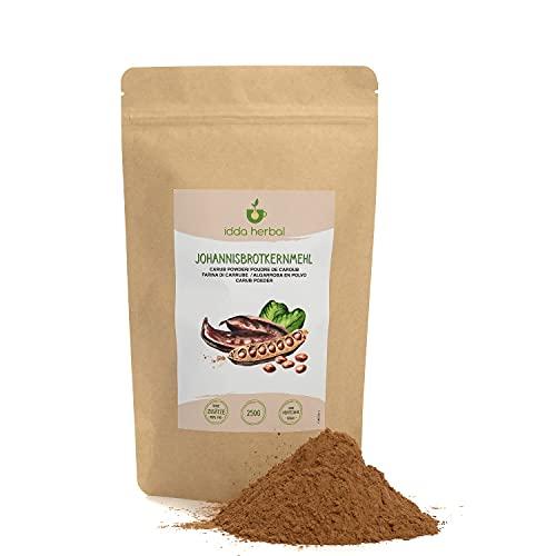 Algarrobo en polvo oscuro (250g), harina de algarrobo como sustituto del cacao, algarrobos secados y molidos suavemente, algarrobo en polvo sin aditivos, totalmente natural y vegano
