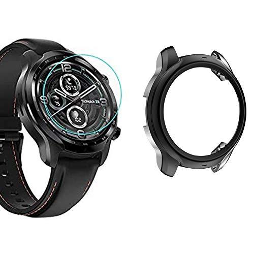 Giaogor Schutzhülle kompatibel Für Ticwatch pro 3, Ultra dünn TPU Schutz Hülle für Ticwatch pro 3 Smartwatch (schwarz hülle + Folie *2)