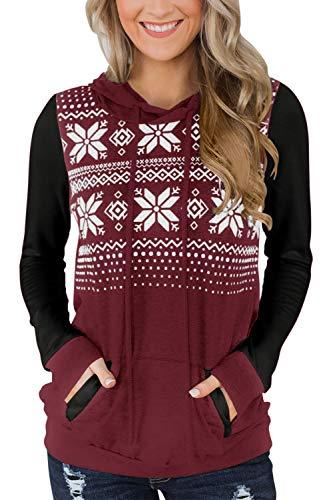 Christmas Womens Reindeer Color Block Hoodies Snowflakes Graphic Long Sleeve Sweatshirt Black Maroon S