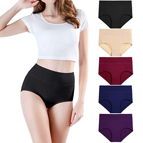 wirarpa Culottes Gainante Femmes Coton Taille Haute Slips, Multicolore04-lot de 5, 46-48,L