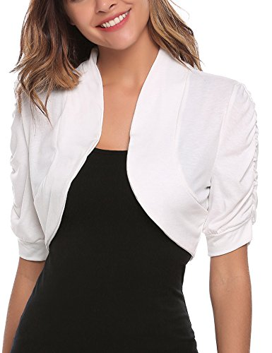 ELESOL Womens Bolero Shrug Half Sleeve Open Front Cardigan for Evening Dresses White/S