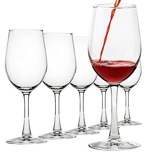 UMIZILI - Set di 6 bicchieri da vino classici resistenti, multiuso, 340 ml, colore: Rosso/Bianco